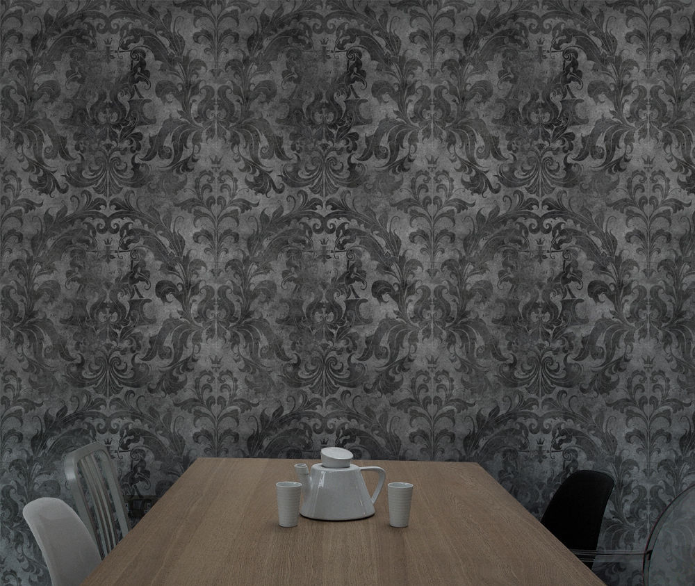 contemporary wallpaper damask printed wood look damask by young battaglia mineheart - Contemporary Damask Wallpaper