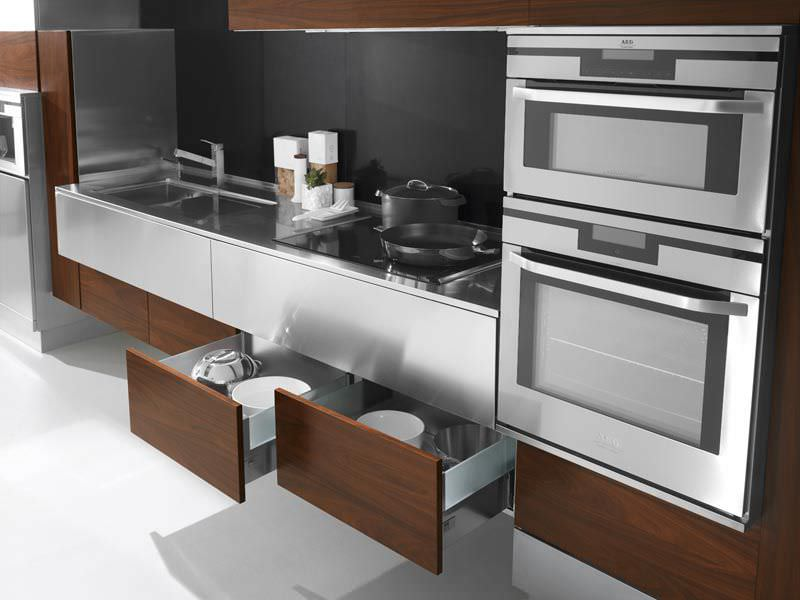contemporary kitchen stainless steel wooden retro arca cucine italia srl