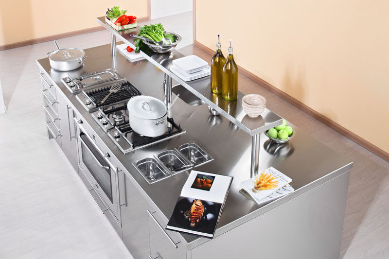 contemporary kitchen stainless steel island with handles rh archiexpo com