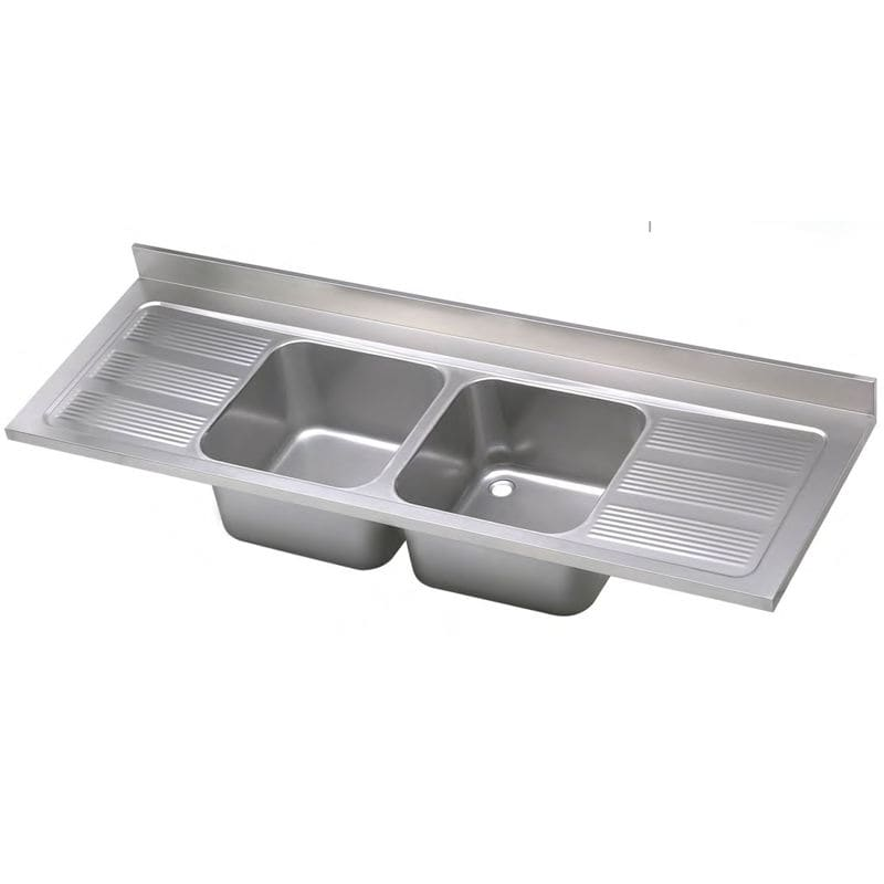 Double kitchen sink / stainless steel / with drainboard - INDUSTRIAL ...