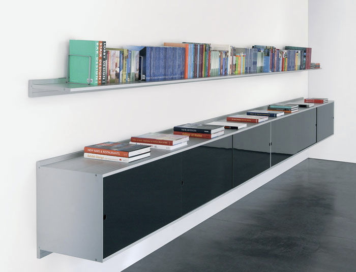 wallmounted shelving system metal residential paralel by oriol blanc famo