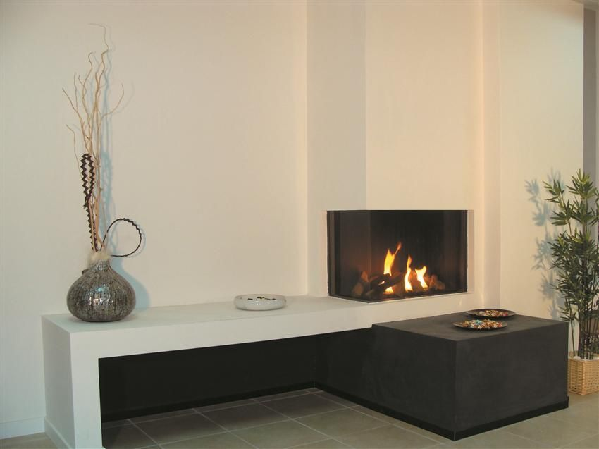 Gas fireplace / contemporary / closed hearth / corner - CLEAR 75 ...