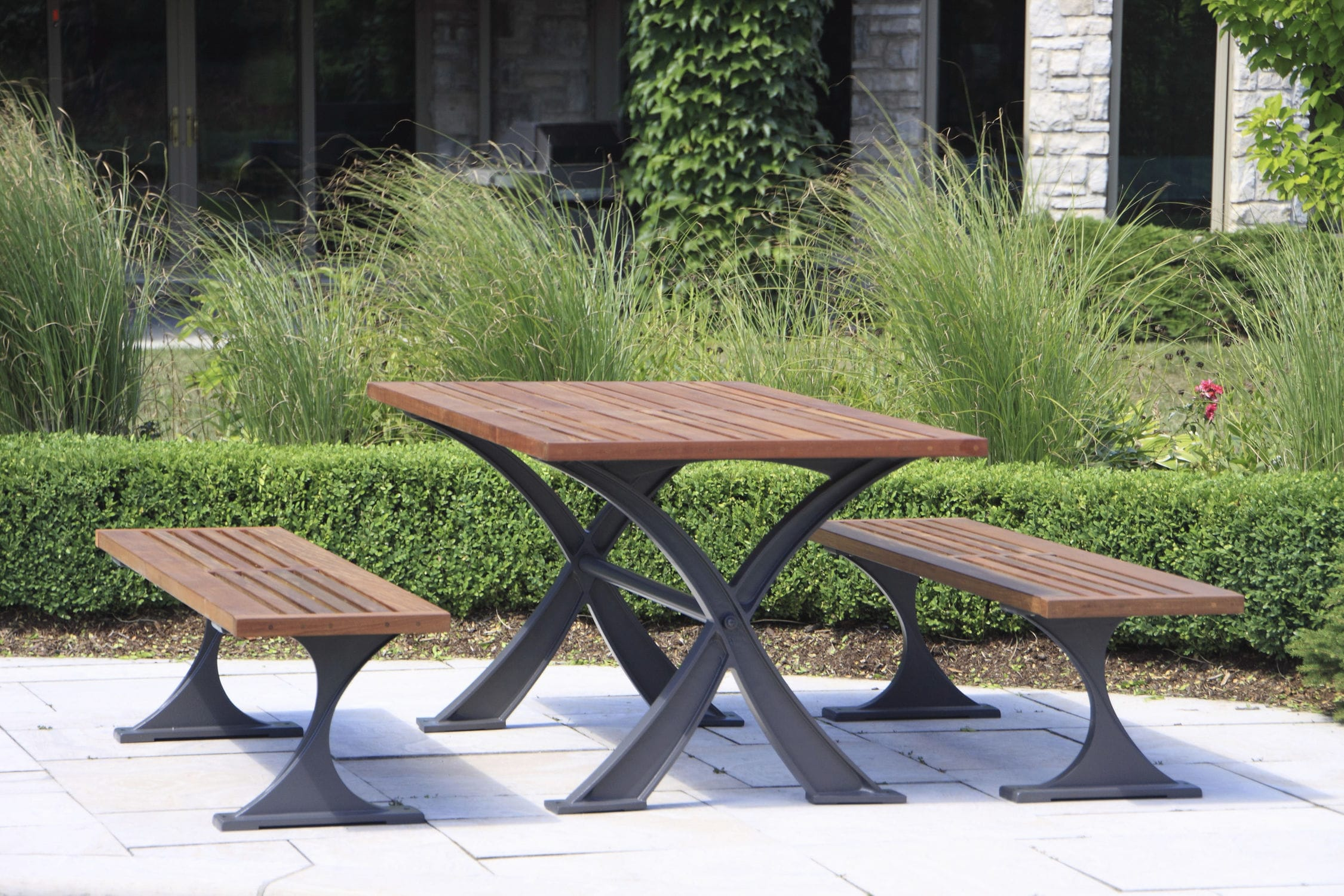 Superb Contemporary Bench And Table Set Wooden Aluminum Outdoor