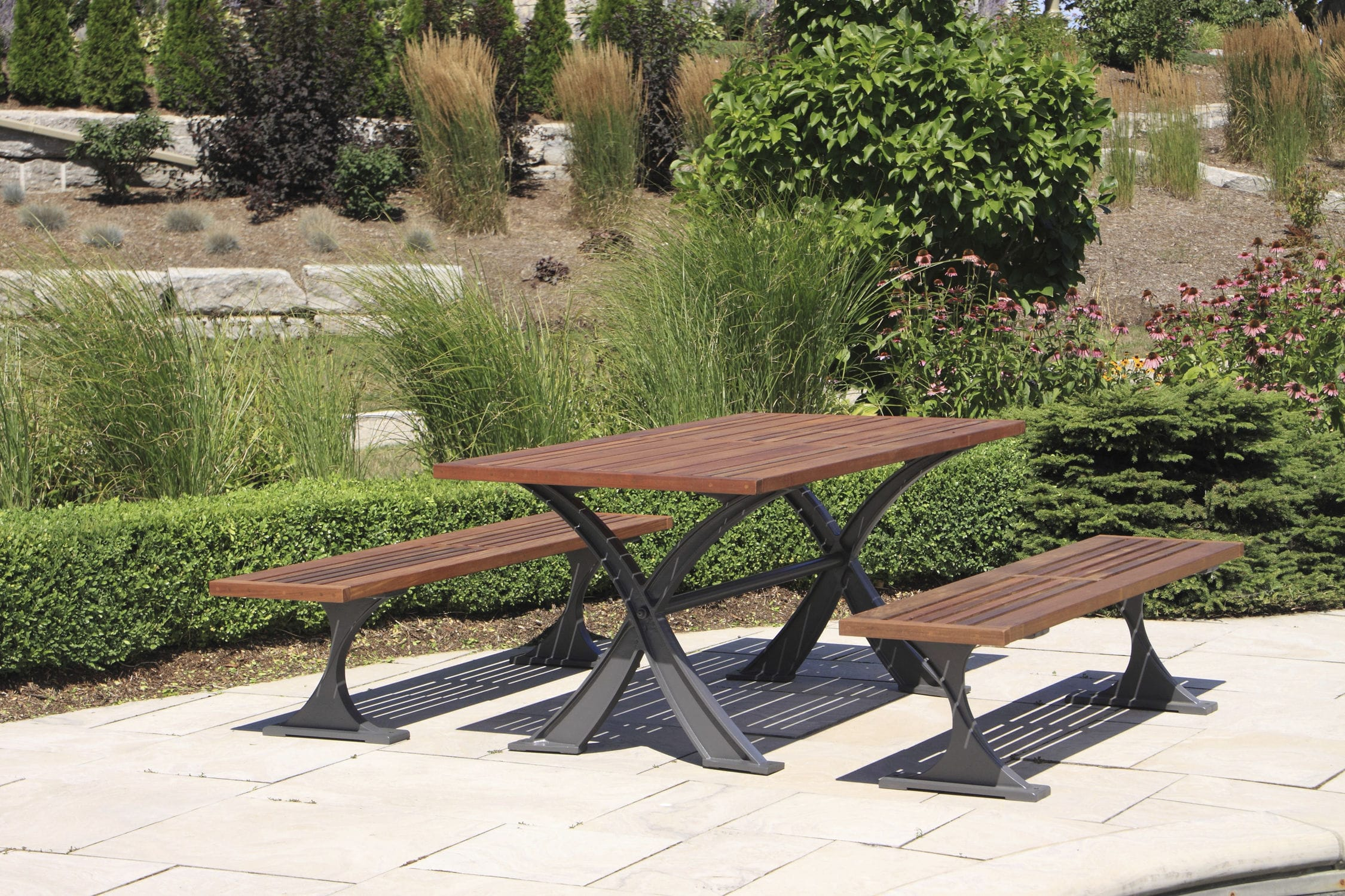 Contemporary Bench And Table Set Wooden Aluminum Outdoor Mlpt1200