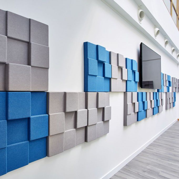 Interior fitting acoustic panel for ceilings for false ceilings for interior walls cubism