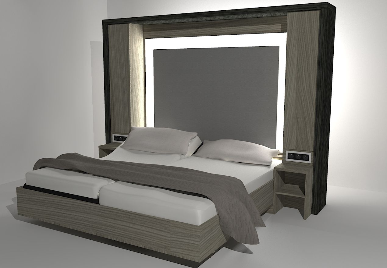 Wall bed double contemporary custom alexandre