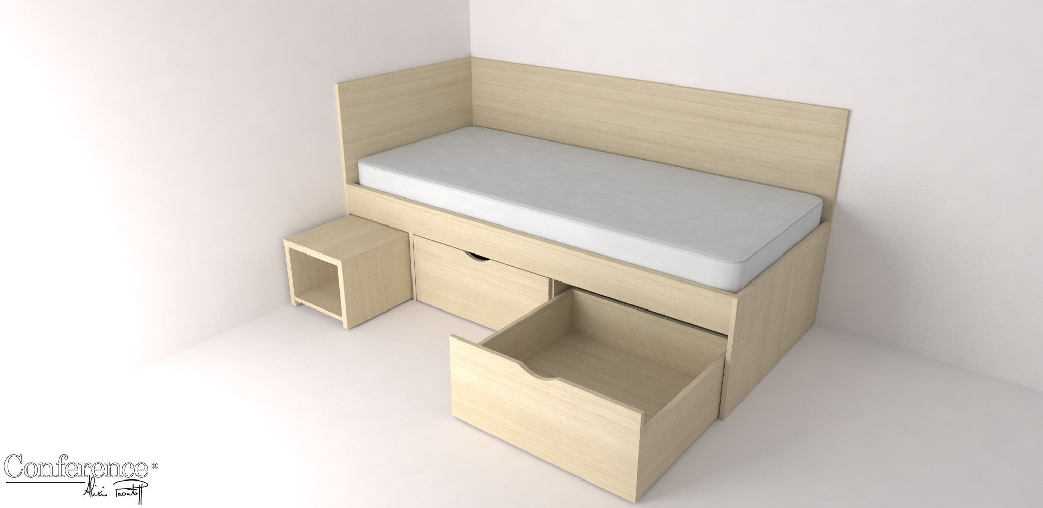 Modern single bed designs with storage - Single Bed Contemporary Integrated Bedside Table With Storage
