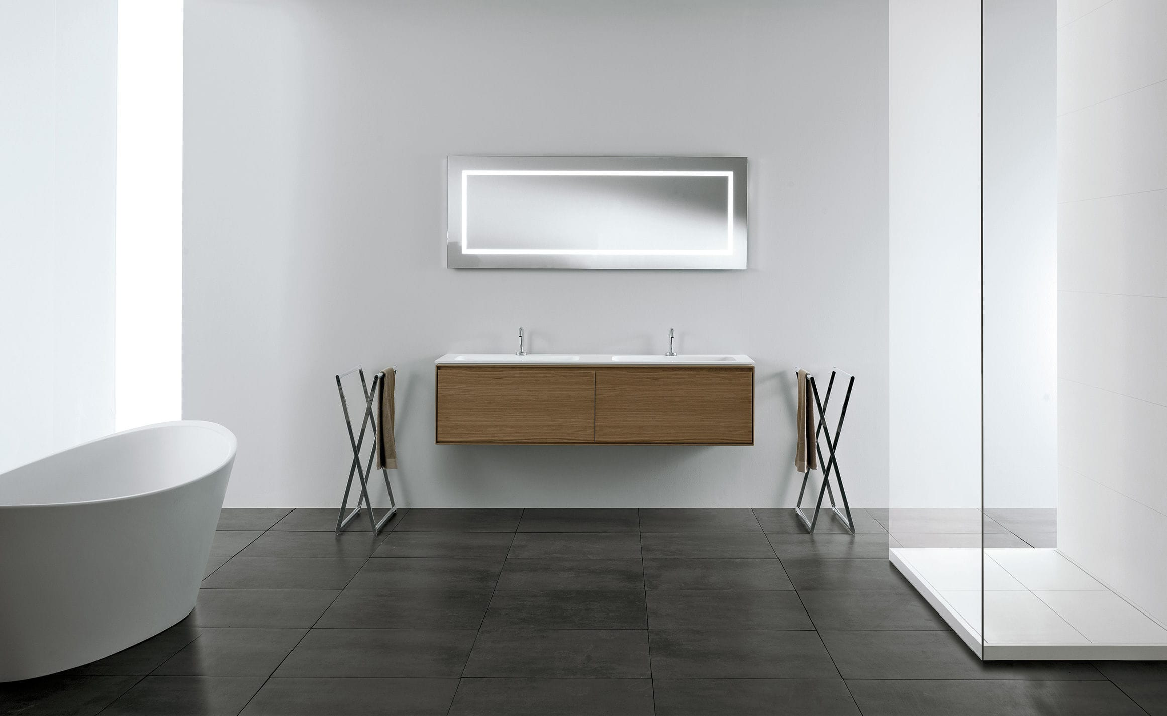 Double washbasin cabinet / wall-hung / solid wood / contemporary ... | {Waschtischunterschrank modern 4}