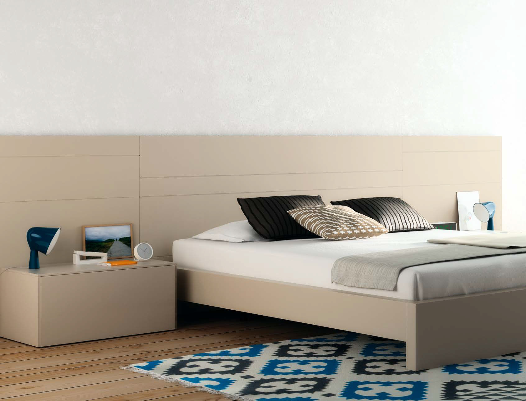 Double Bed Contemporary With Headboard Integrated Bedside  # Muebles Touch Design