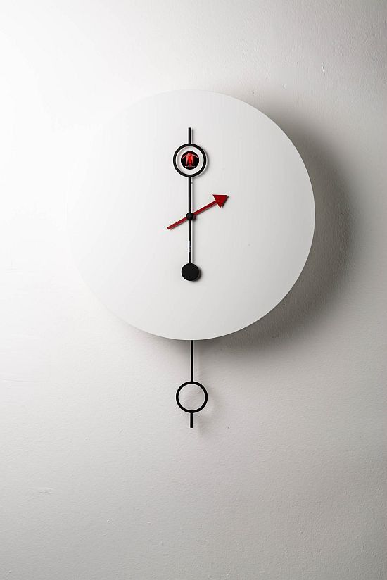 Contemporary clock / pendulum / wall-mounted / lacquered wood ...
