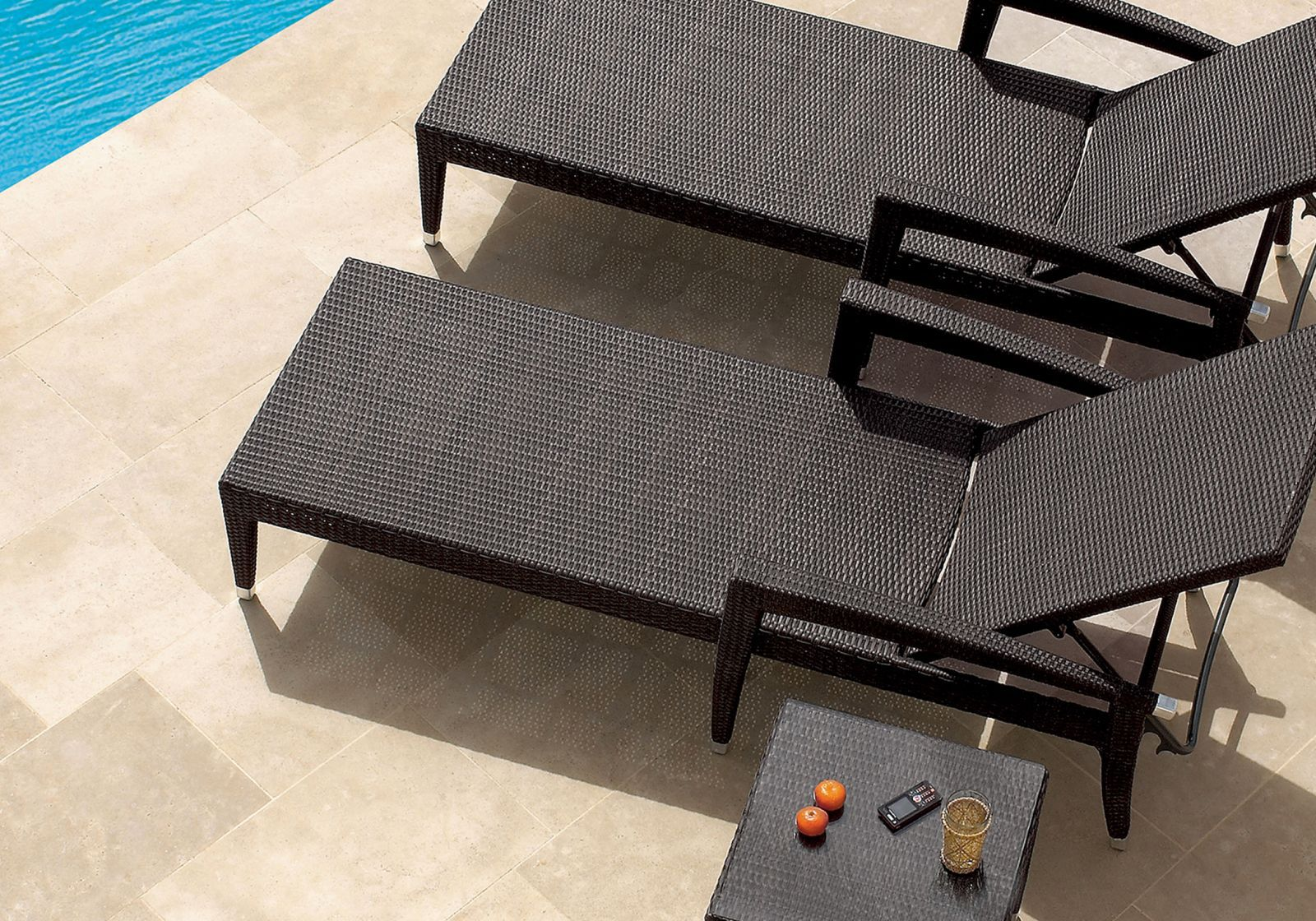 Resin Wicker Lounge Chairs contemporary sun lounger / aluminum / resin wicker / outdoor