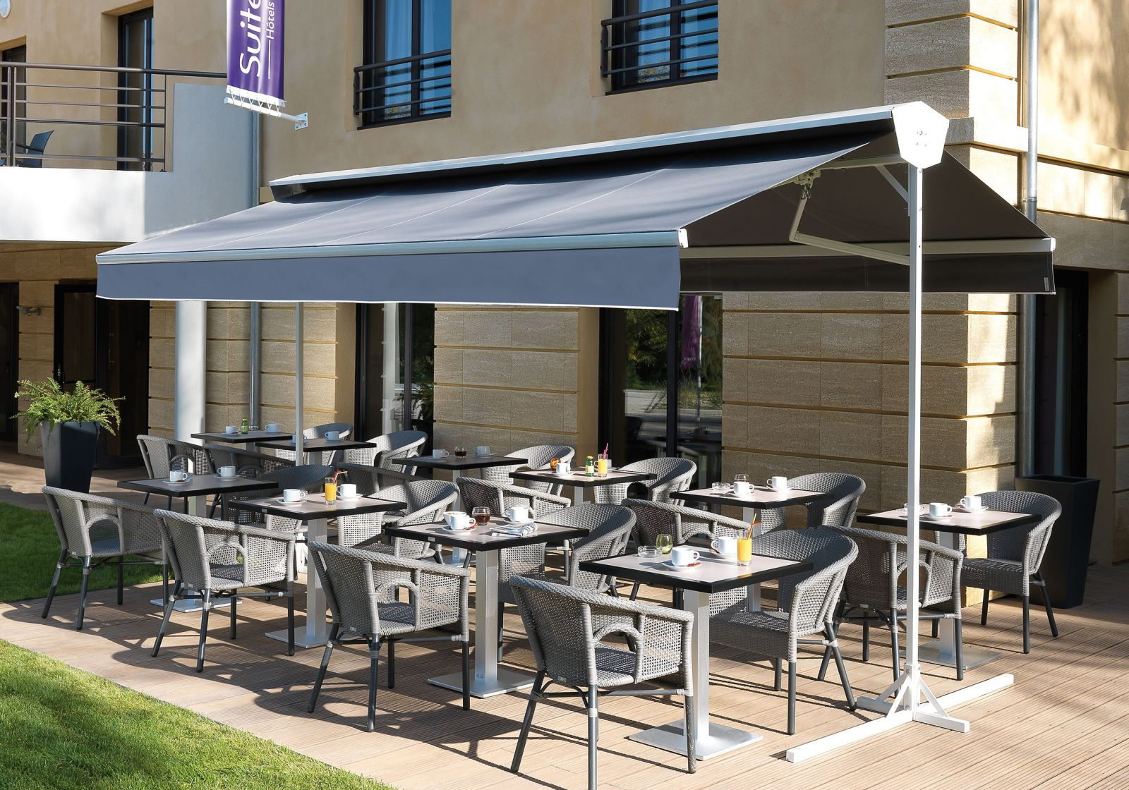 Free Standing Awning / Manual / Double Slope / Gray ...