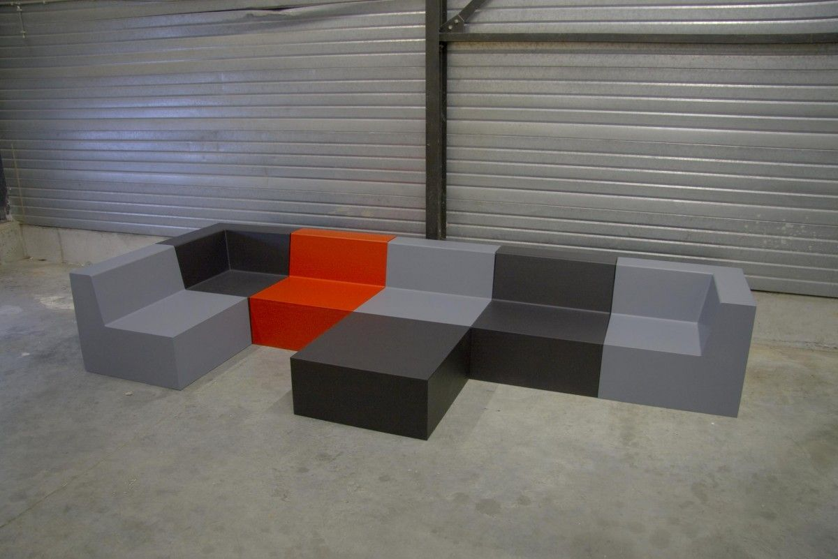 Modular upholstered bench contemporary coated foam for
