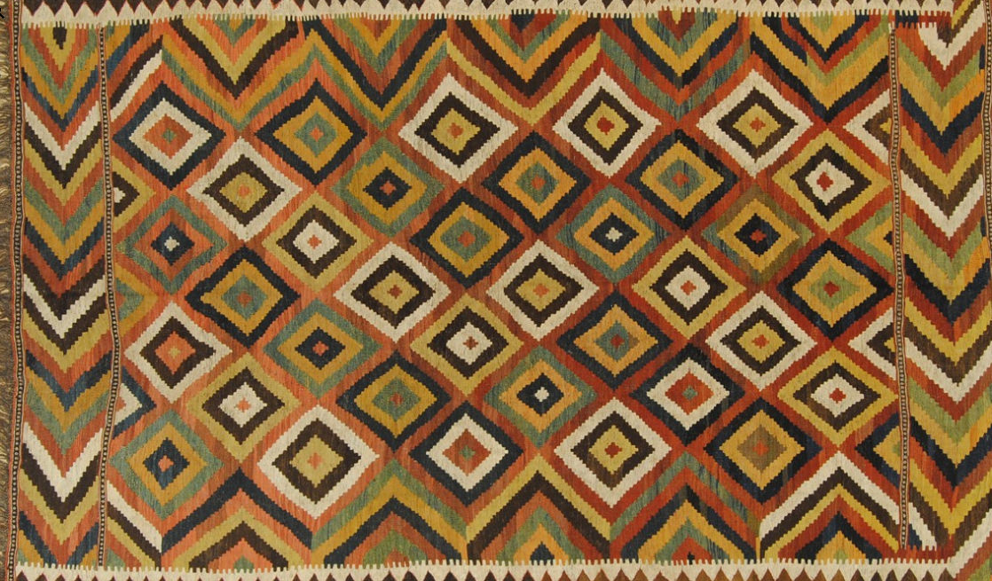 Oriental Rug Patterned Geometric Wool Kilim Ano