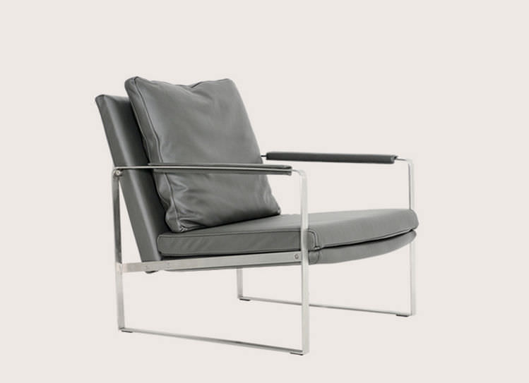Contemporary Armchair Wool Leather Stainless Steel Zara