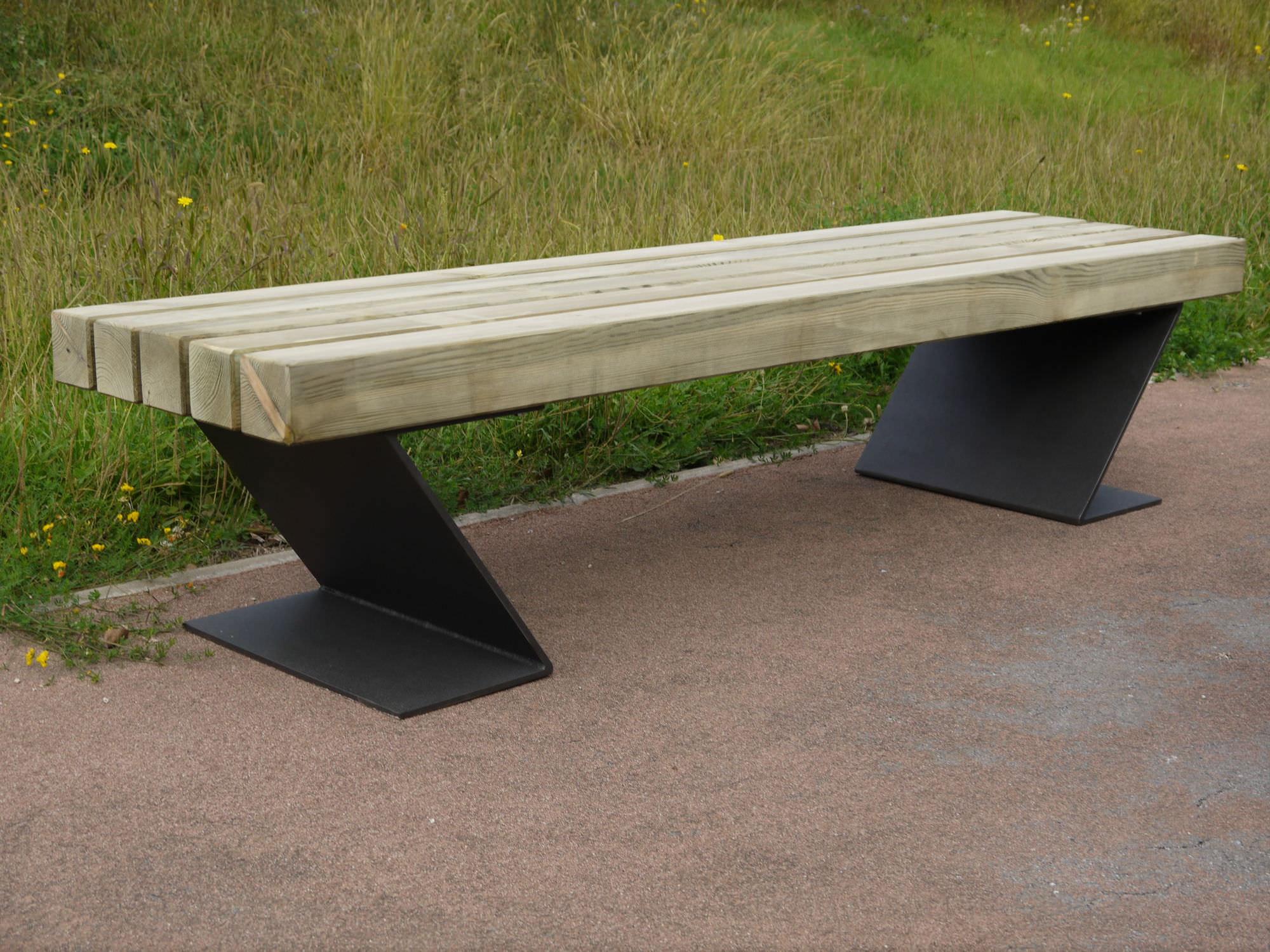 public bench / contemporary / wooden / metal - ecobatfrepat