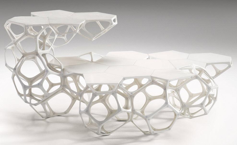Original Design Coffee Table Plastic Modular White Polyhedra