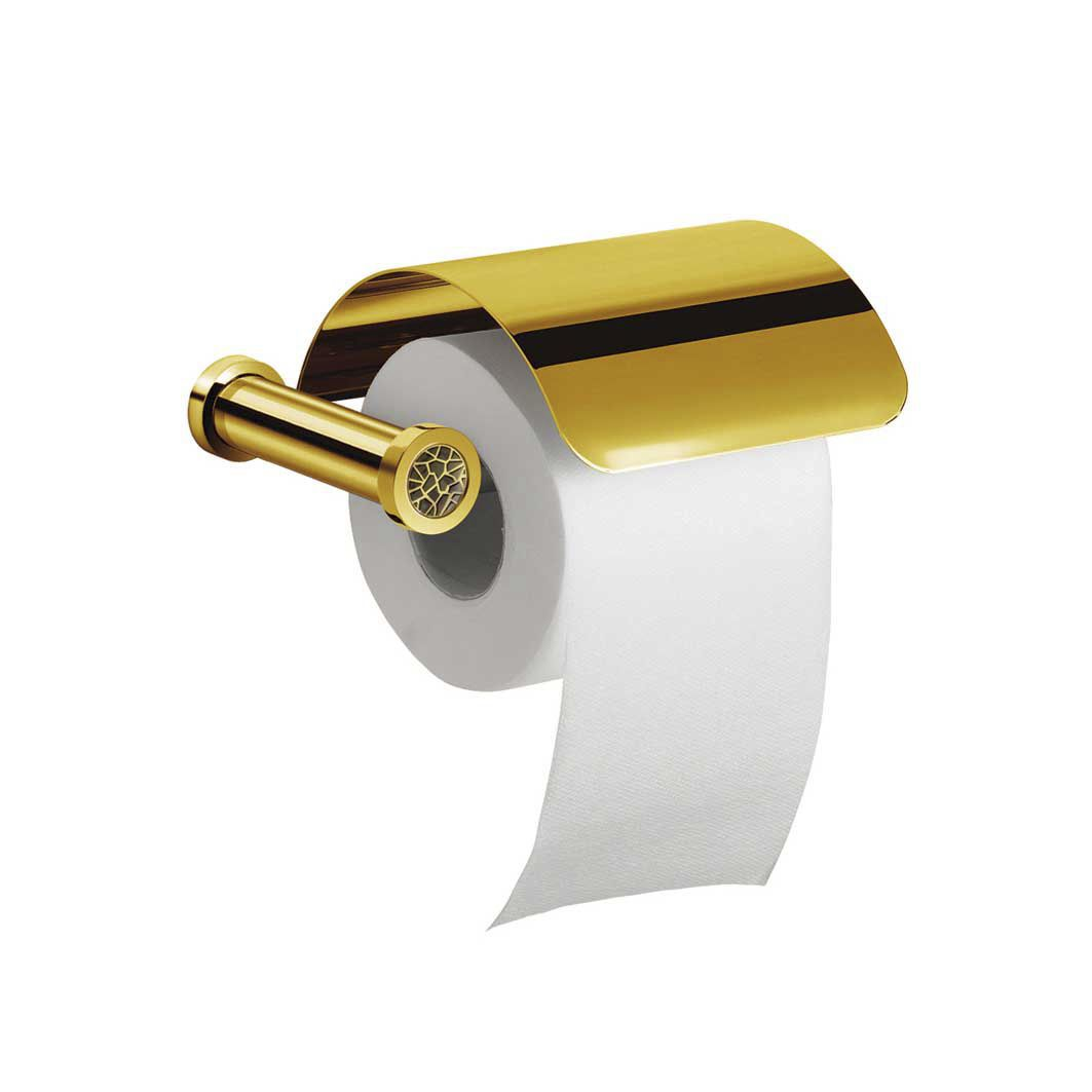 Wall-mounted toilet paper dispenser / chrome-plated brass / gold ...