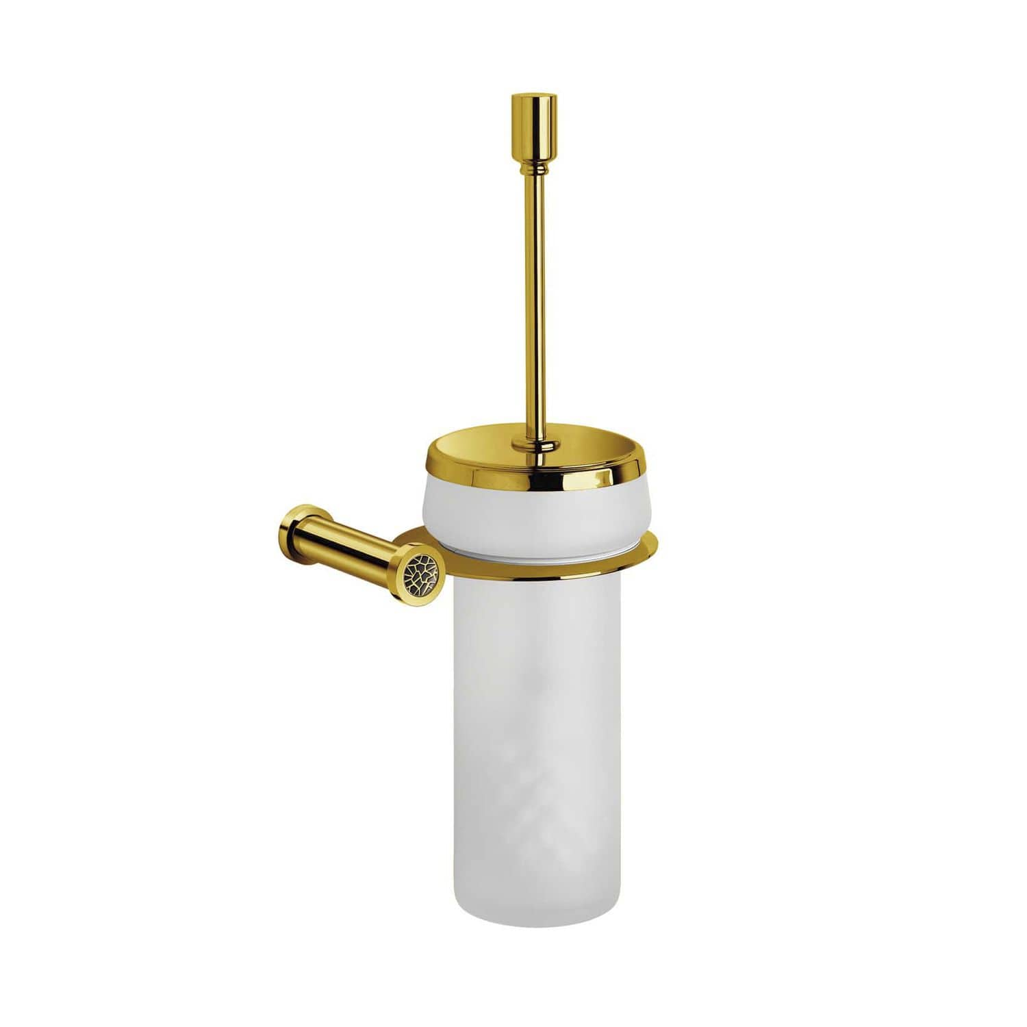 Chrome-plated brass toilet brush / gold-plated brass / Swarovski ...