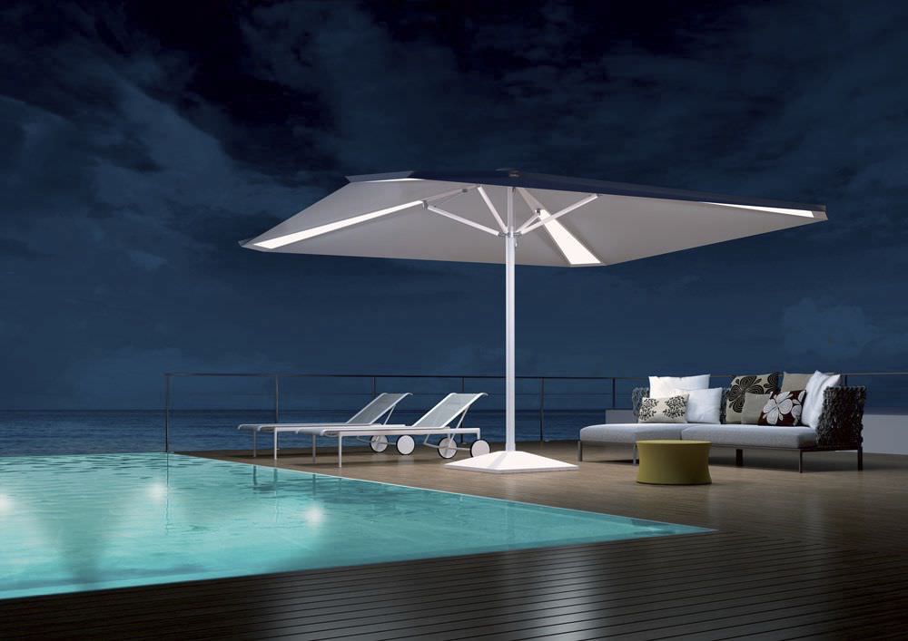 ... Commercial Patio Umbrella / Canvas / With Built In Light /  Wind Resistant ...