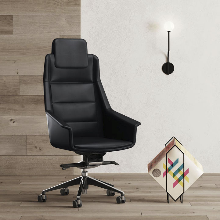 Contemporary Executive Chair Fabric Leather On Casters Jera