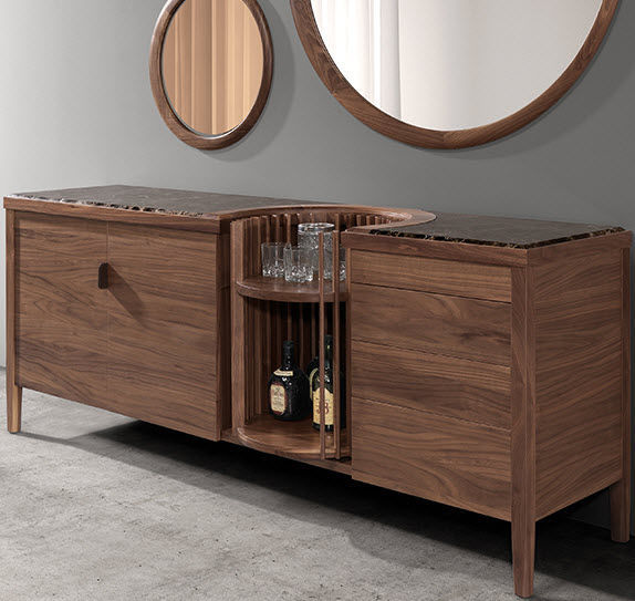 Exceptionnel Contemporary Bar Cabinet / Walnut   CAROUSEL By Leonhard Pfeifer
