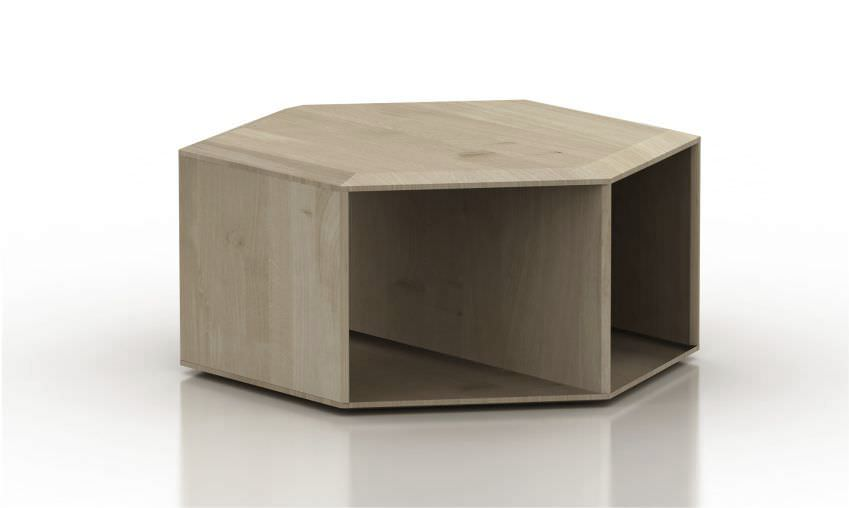Contemporary Coffee Table Oak Solid Wood Hexagonal Hexa By Daniel Vieira Wewood