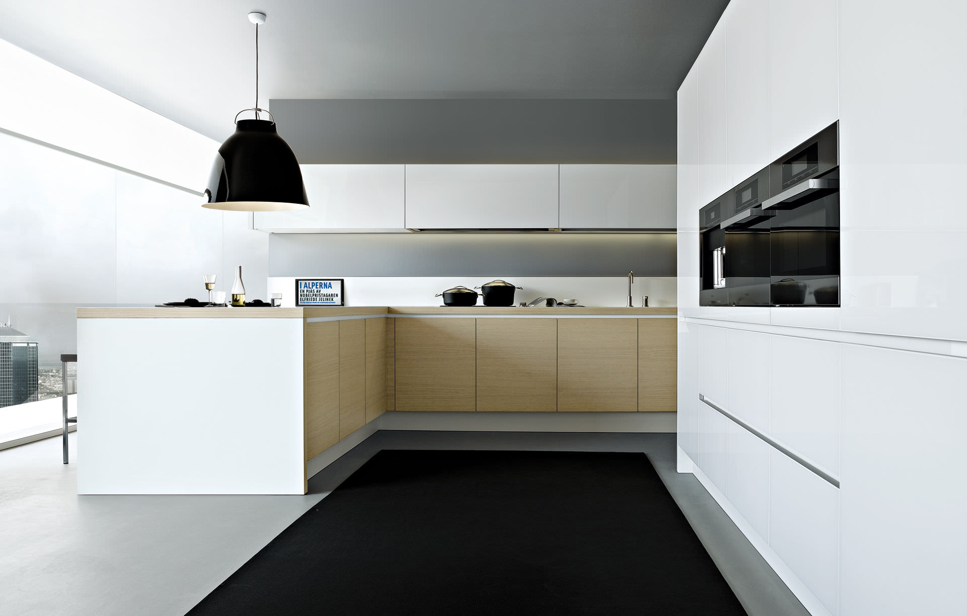 Contemporary kitchen / wood veneer / lacquered - ALEA by Paolo ...