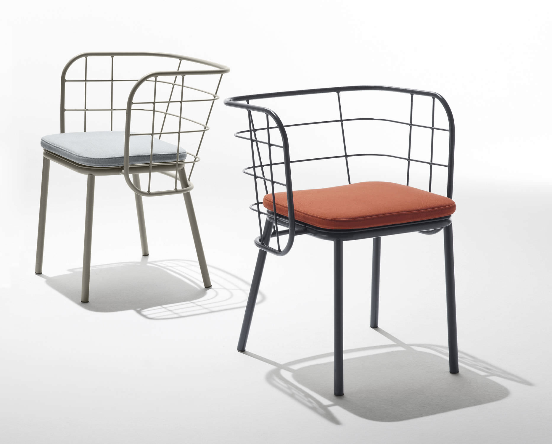 Contemporary chair upholstered with armrests metal JUJUBE