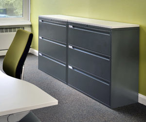 Low filing cabinet / tall / metal / glass - 800 SERIES™ LATERAL ...