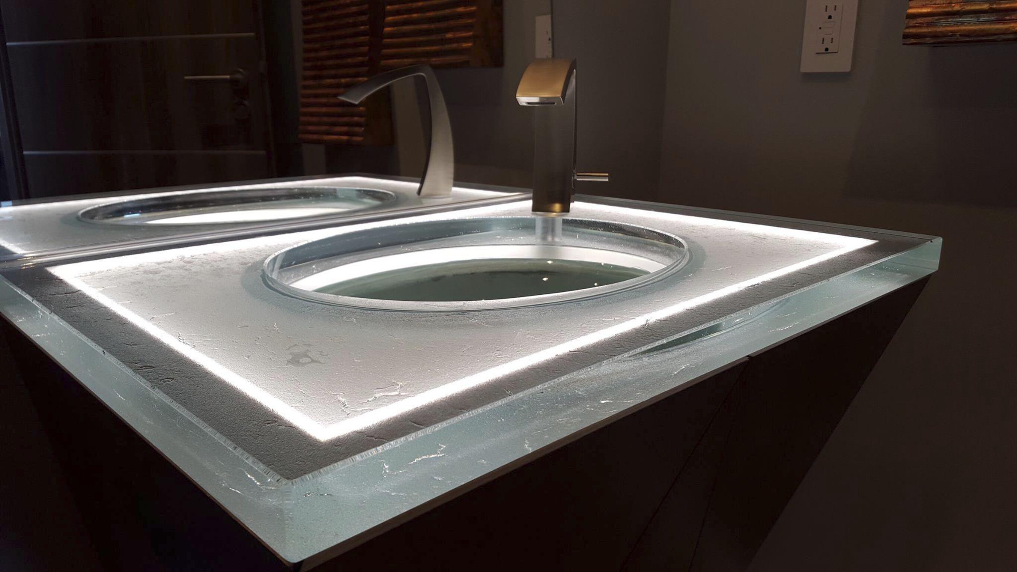 Glass vanity top professional custom backlit