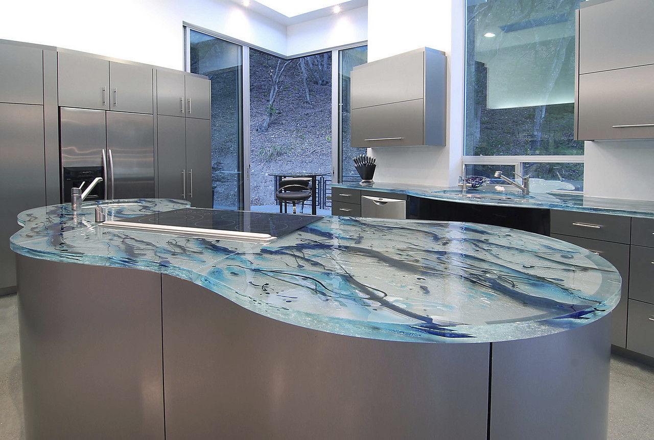 Glass countertop / kitchen / heat-resistant / original design ...