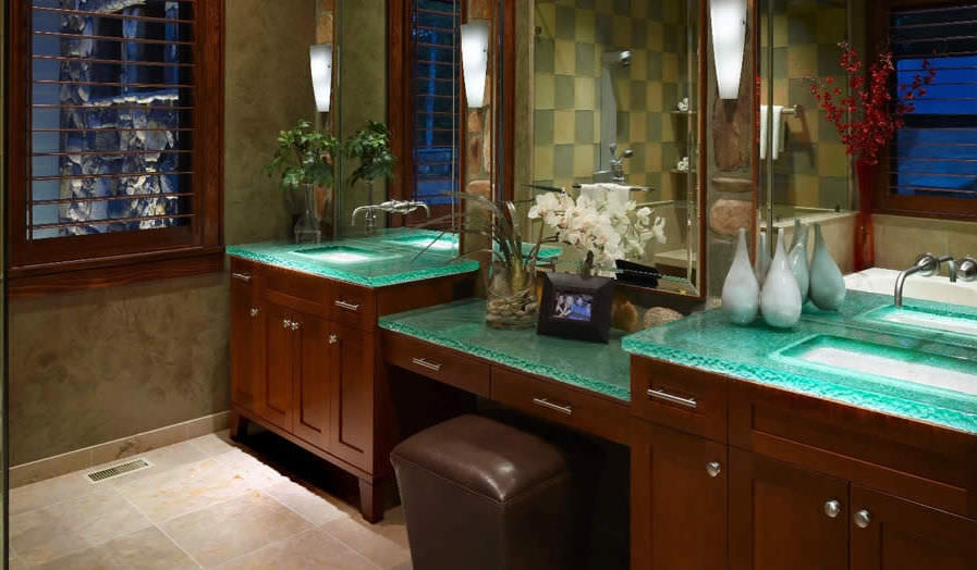 Glass Bathroom Vanity Tops glass vanity top - multi level master bath - thinkglass