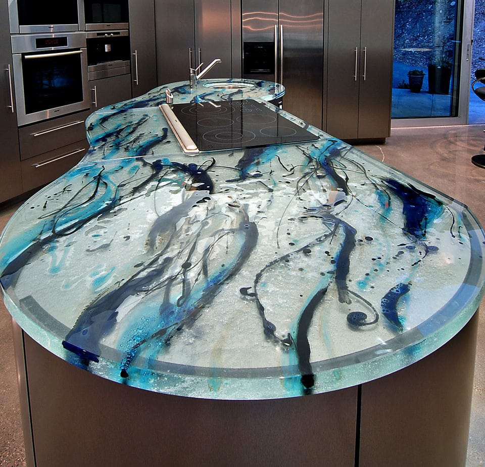 Glass Countertop / Kitchen / Heat Resistant / Original Design   OCEAN  INSPIRATION