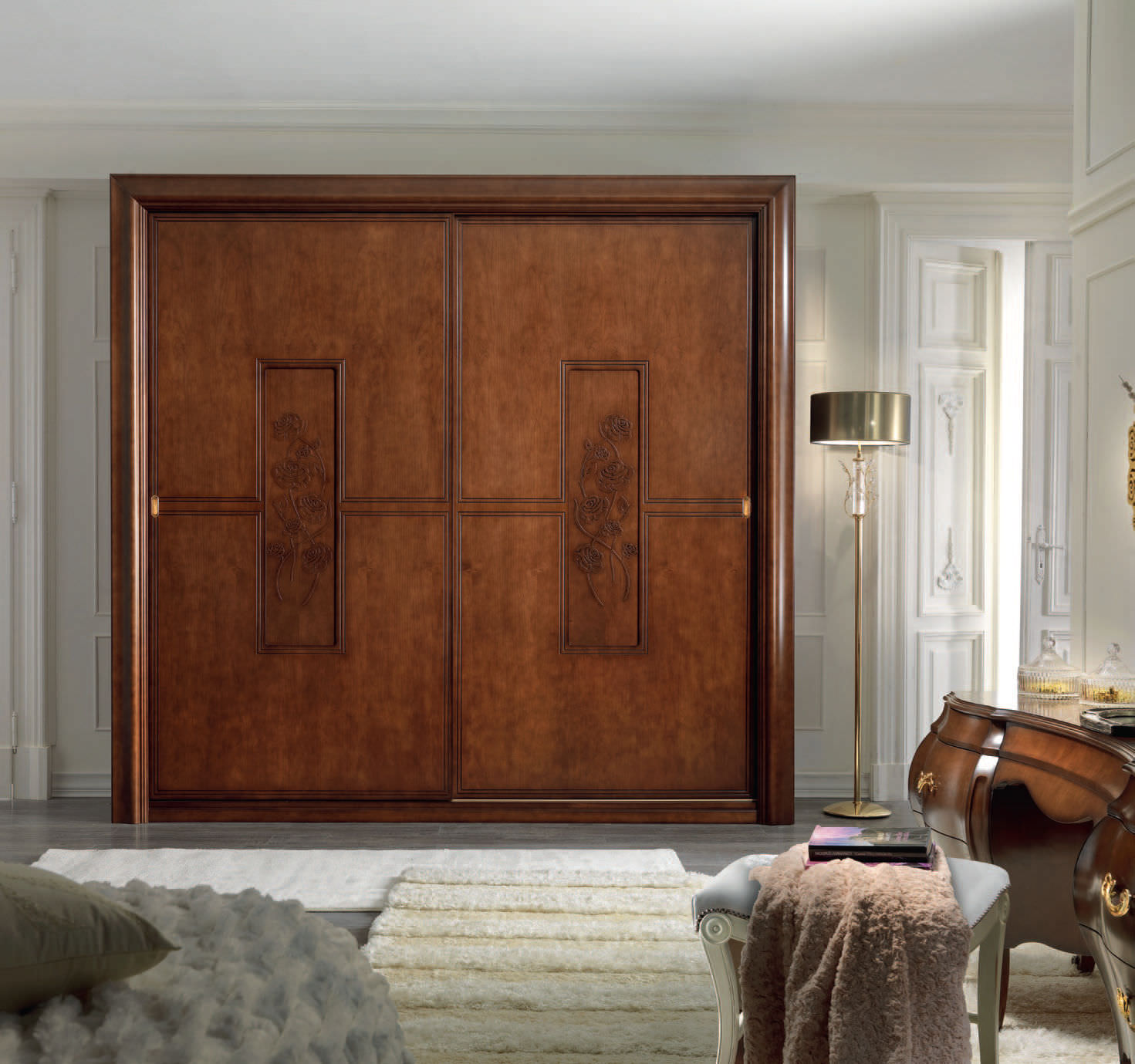 Wood sliding doors -  Traditional Wardrobe Wooden Sliding Door Callas Bbelle