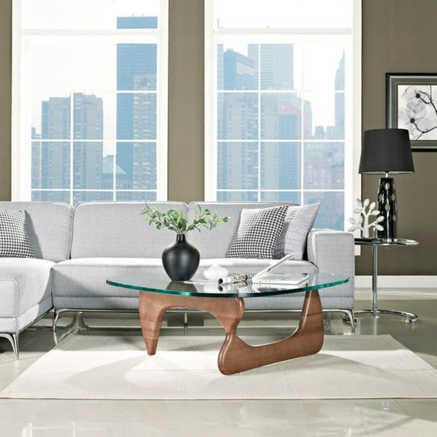 Contemporary Coffee Table Wooden Glass Marble Vitra