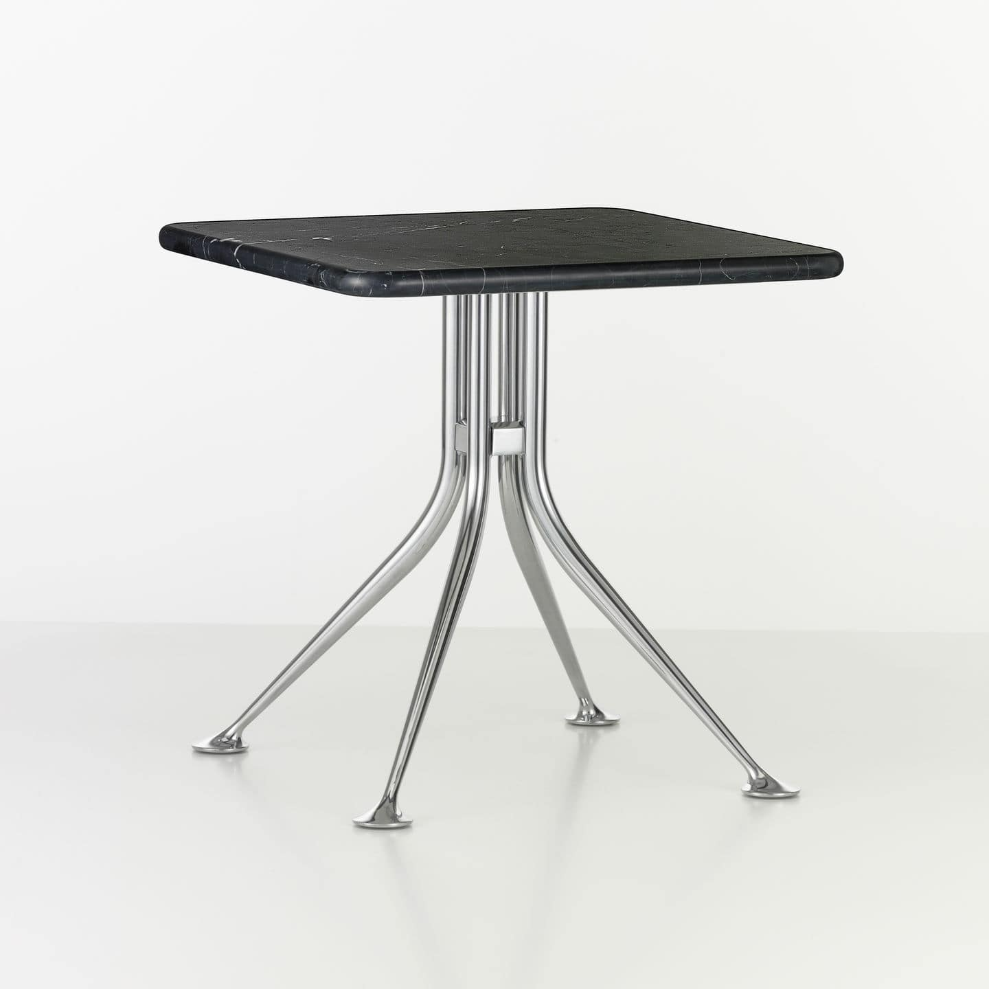 Contemporary side table marble aluminum round SPLAYED LEG