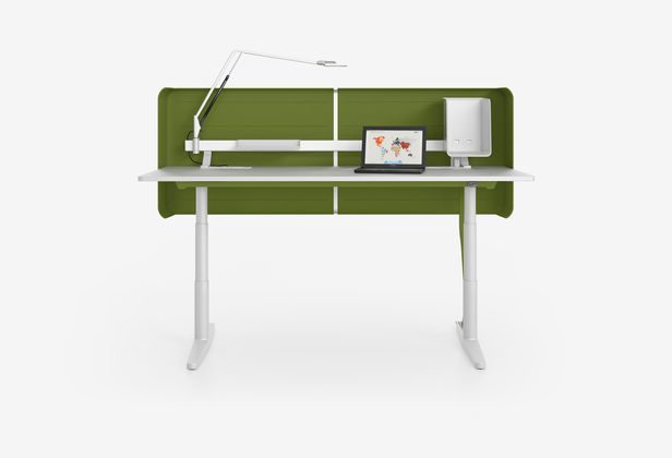 Workstation Desk Oak Metal Contemporary Tyde Vitra