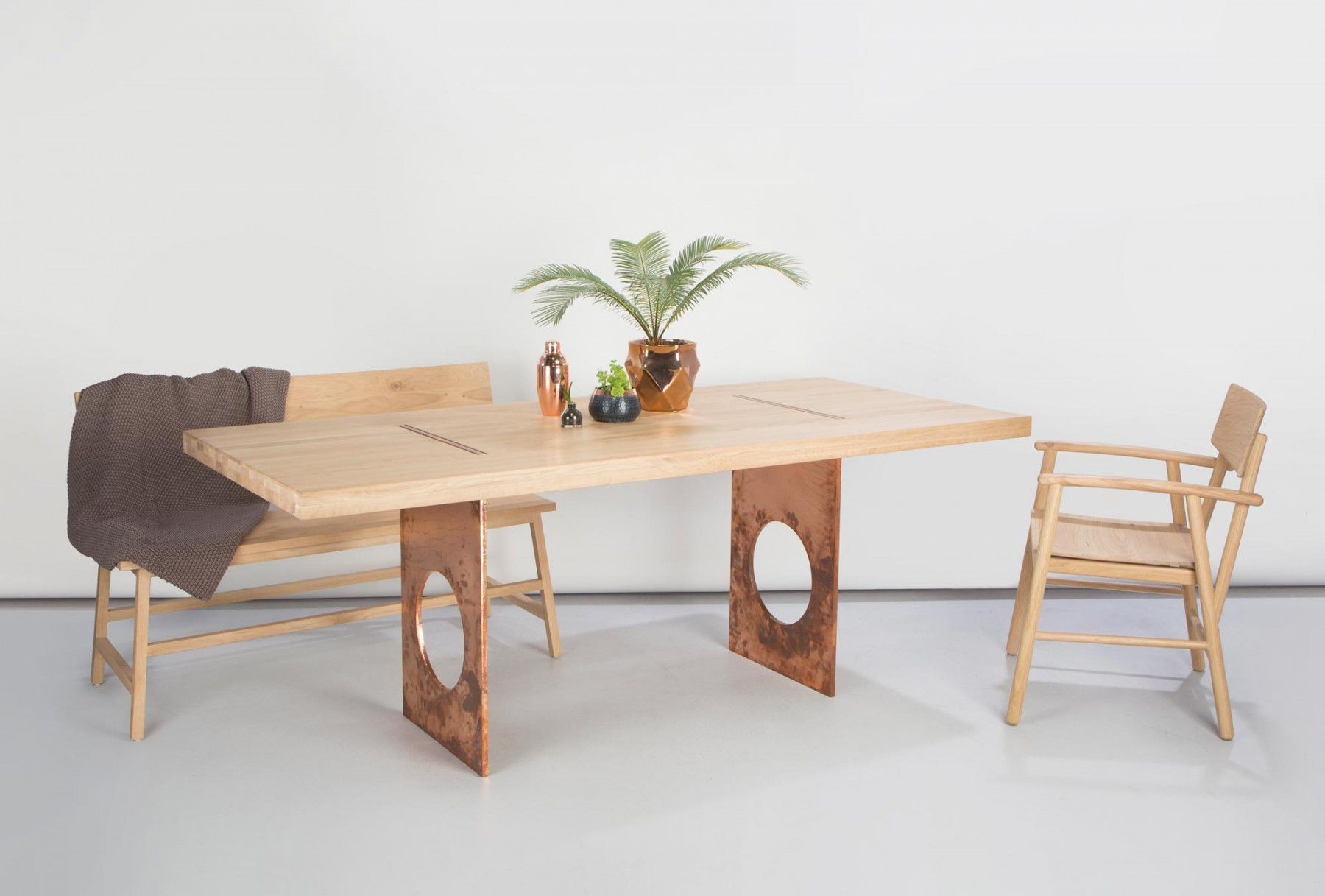 dining table oak copper steel flux adventures in furniture