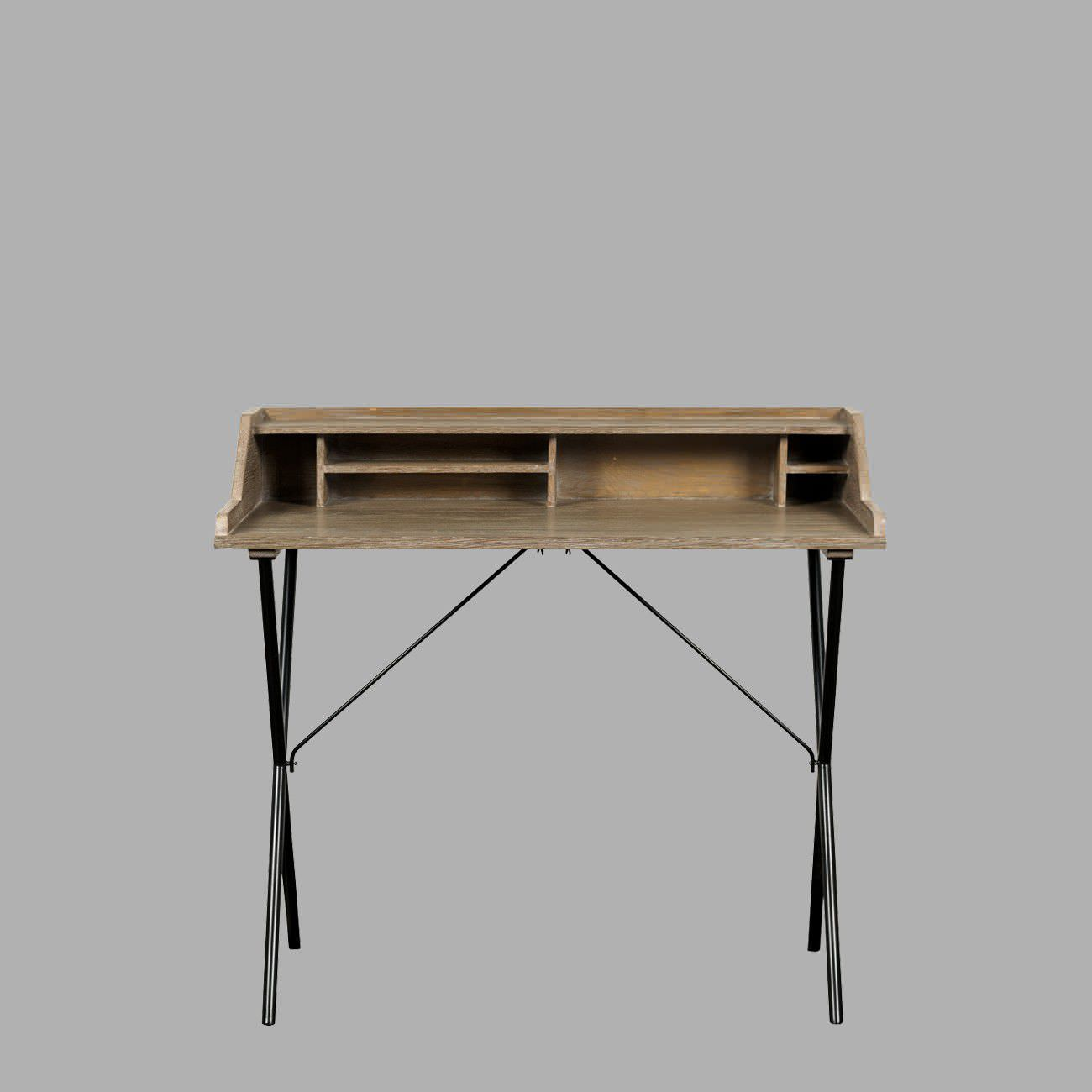 Wooden Desk Metal Traditional With Storage Brice Blanc D
