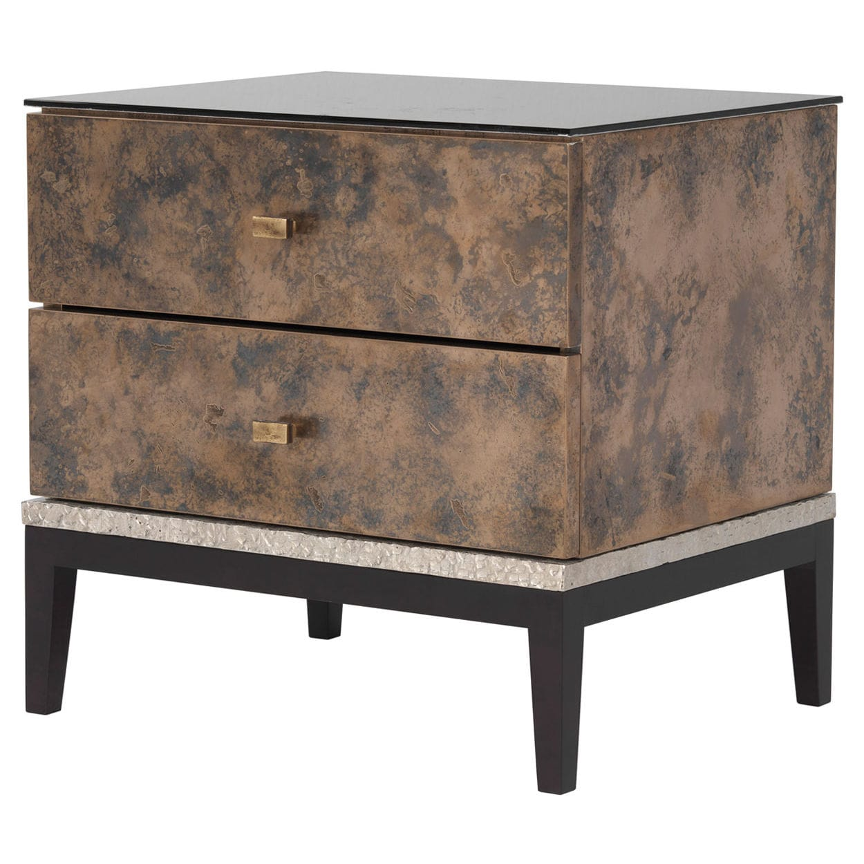 Traditional Bedside Table / Bronze / Glass / Rectangular   MONACO