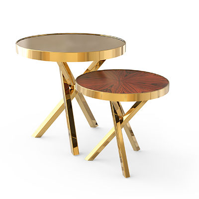 Contemporary Side Table / Wood Veneer / Polished Brass / Round   WHEEL SET  By Marco Sousa
