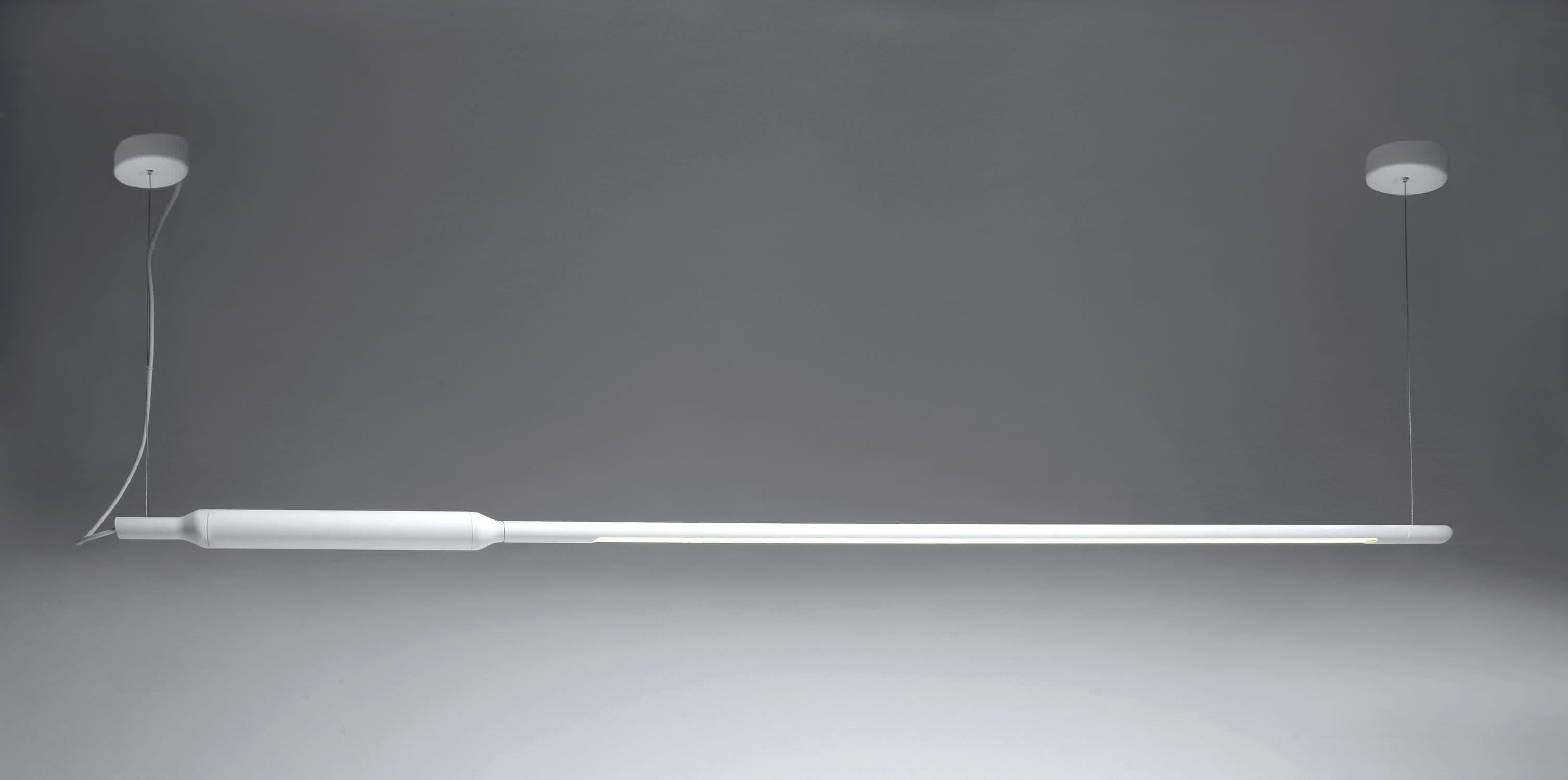 Hanging light fixture / fluorescent tube / linear / aluminum - SLIM ...