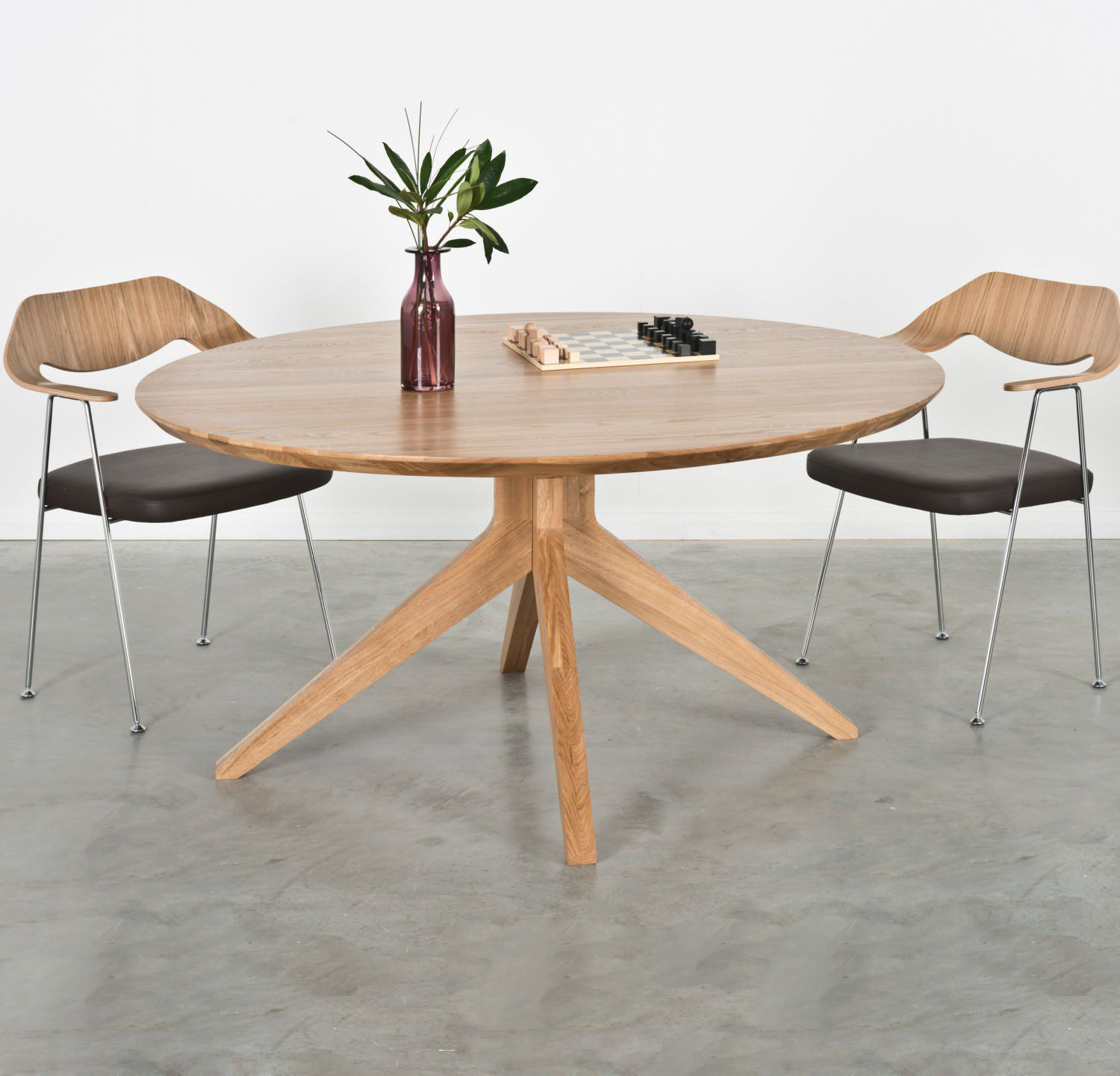 Contemporary dining table wooden round rectangular CROSS