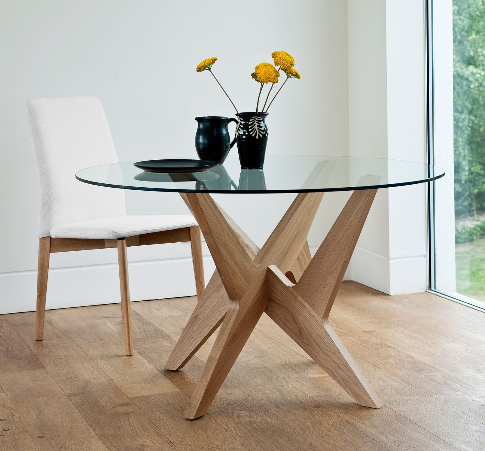 Contemporary dining table glass oak round CROSS SIDE by
