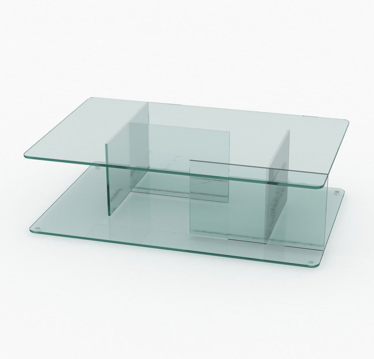 Contemporary coffee table tempered glass rectangular with