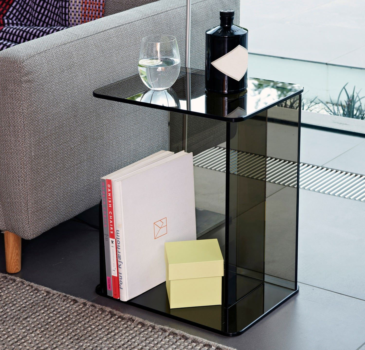 Contemporary side table tempered glass rectangular LUCENT by