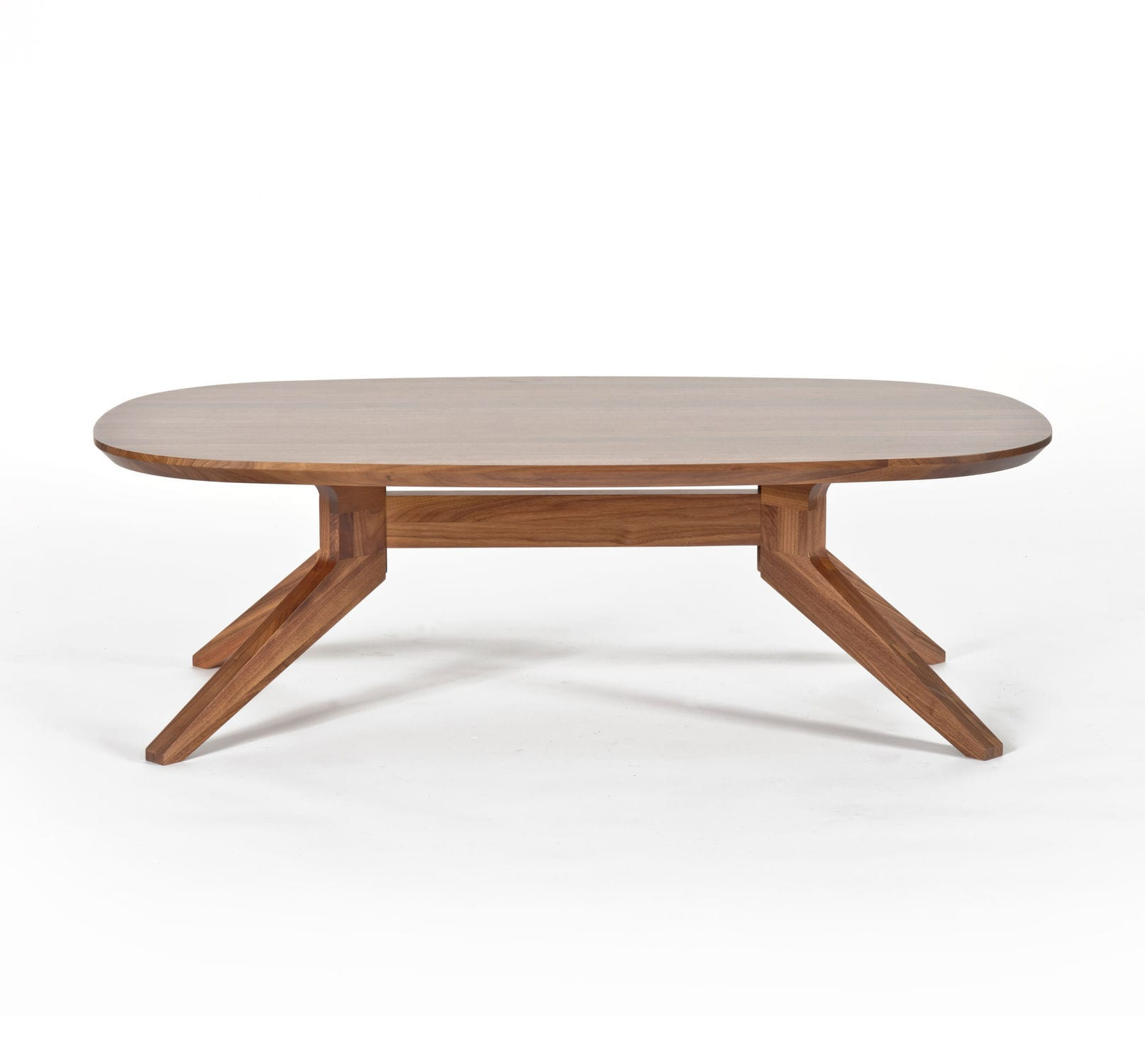 Contemporary coffee table wooden oval round CROSS by