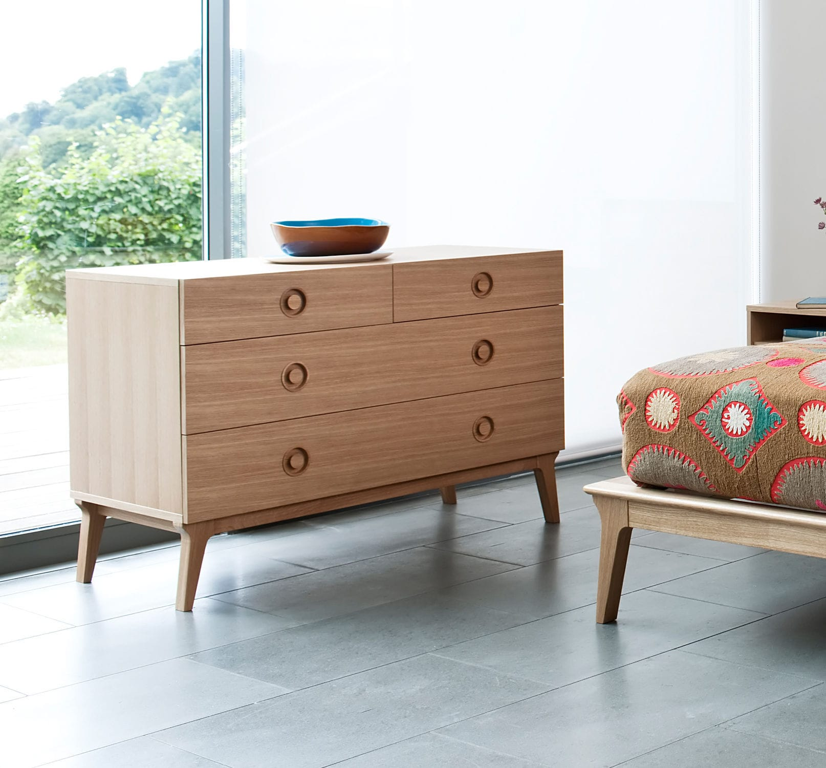 Contemporary chest of drawers   oak   walnut   solid wood VALENTINE by  Matthew Hilton case. Contemporary chest of drawers   oak   walnut   solid wood