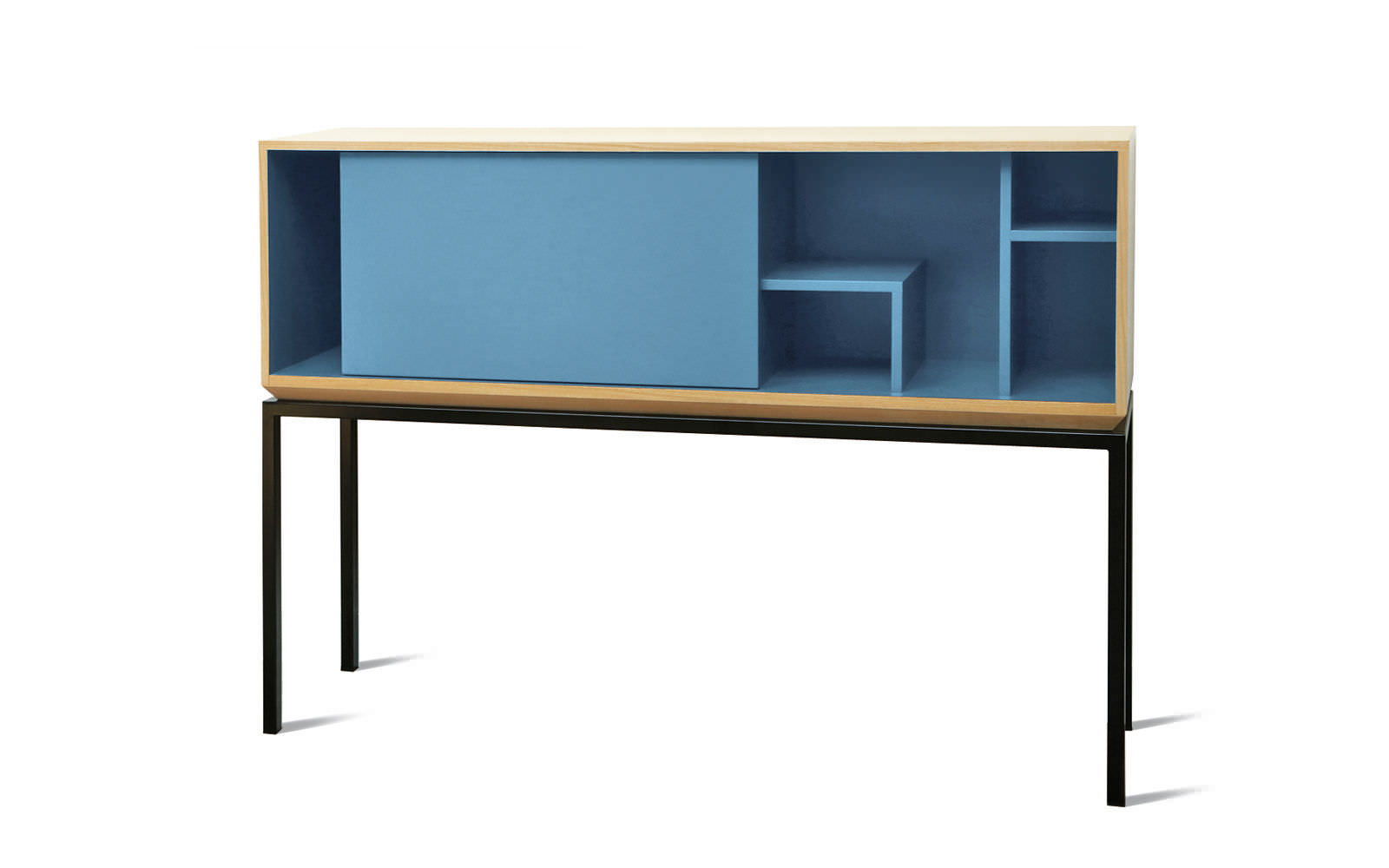 Contemporary Secretary Desk Oak Walnut Metal My City By Lau Minguet